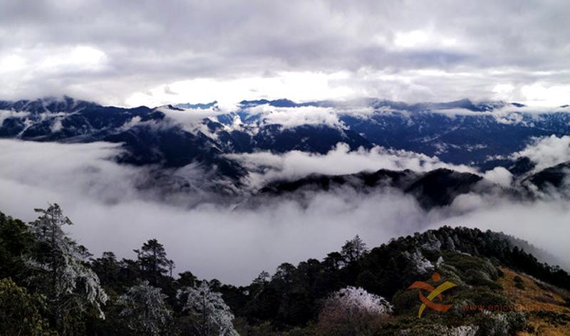 喇叭河风景区,冰天雪地,焦山主峰,雾凇